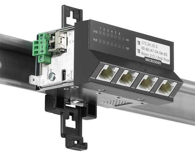Support Rail DIN pour Micro Switch Génération 6 - MICROSENS ruggedizedmicroswitchhorizontal300dpi10cm